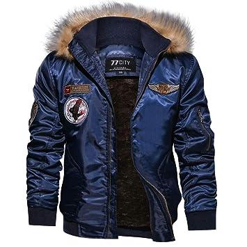 Hombres y niños invierno cárdigan Chaqueta bomber,Sonnena ⚽ invierno casual chaqueta ciclistas color liso manga larga dobladillo elástico cremallera ...