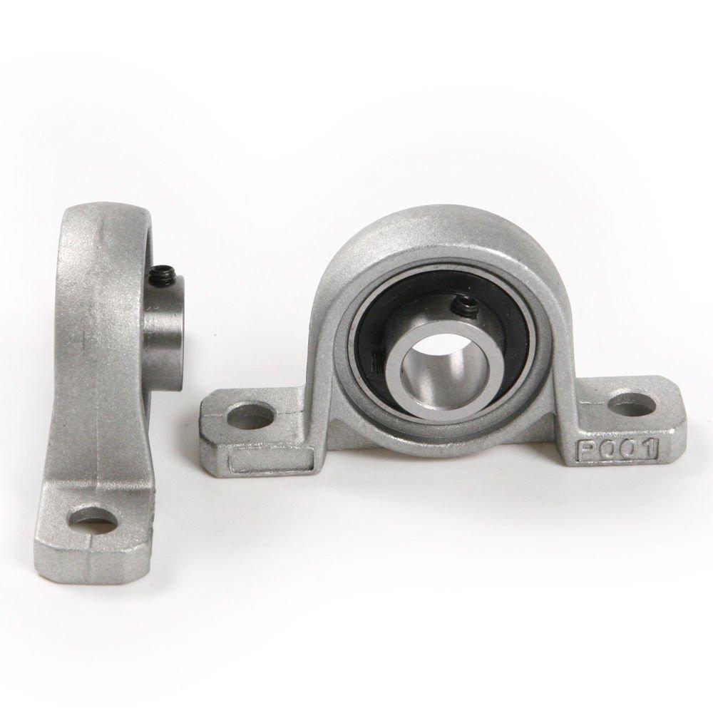 Yosoo 2 Pcs Corrosion Resistance Pillow Block Bore 8/10/12/20mm Inner Diameter Zinc Alloy Metal Ball Bearing Housing (20mm)