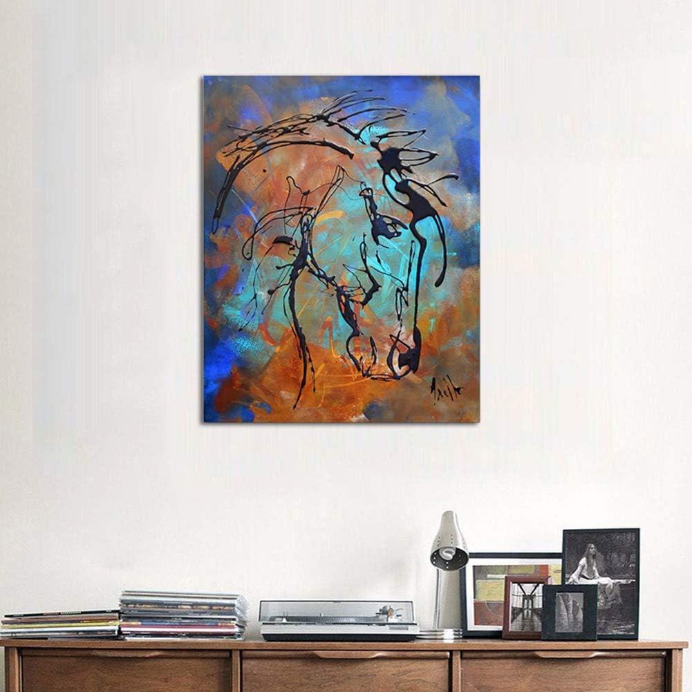 Retro Resumen Pintura Unico Creativo Caballo Chorro De Tinta Arte Lienzo Imprimir Animales Pintura Decoración de Pared Hogar Artesanías,Noframe,40x60cm