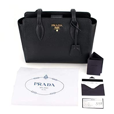 8602061eb435 Prada Vitello Phenix Black Leather Shopping Tote Handbag 1BG111  Handbags   Amazon.com