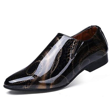 b9188aea0d HILOTU ¡Despeje! Zapatos de Esmoquin de Charol Negro de Lujo para ...