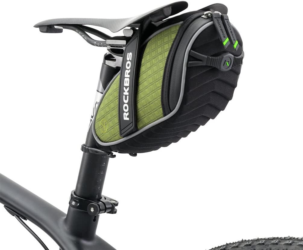 ROCKBROS Bolsa de Sill/ín de Bicicleta Alforjas Asiento Trasero Impermeable con Soporte para Luz Trasera para MTB Bici de Carretera Bici Plegable