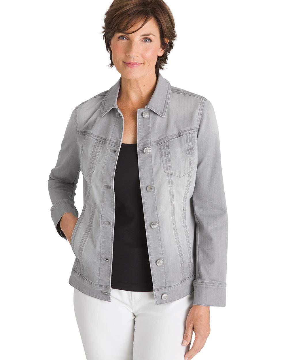 Chico's Women's Denim Jacket Size 16/18 XL (3) Grey by Chico's