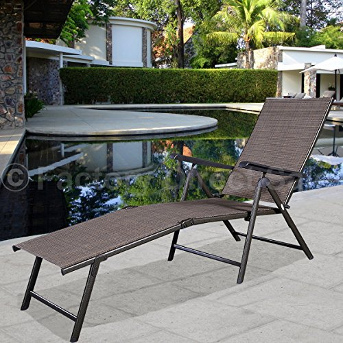 Lounge Chair Pool Chaise Recliner Outdoor Patio Furniture Textilene Adjustable - Melbourne International Terminal