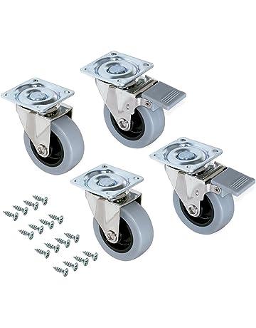 Emuca 2036221 Lote de 4 ruedas pivotantes para mueble Ø50mm con placa de montaje y rodamiento