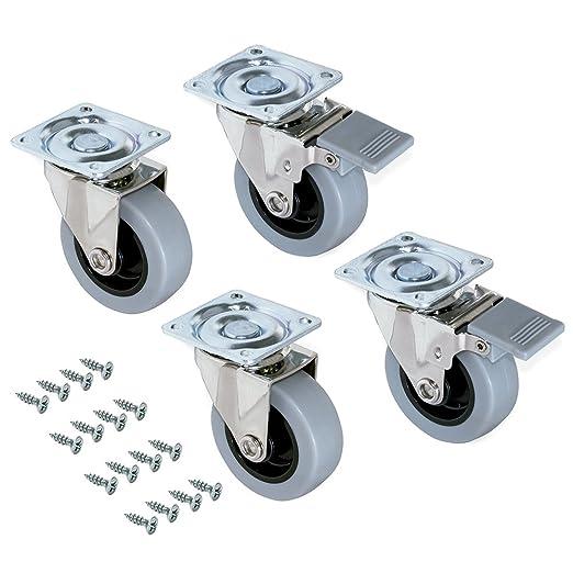 Emuca 2036221 Lote de 4 ruedas pivotantes para mueble Ø50mm con placa de montaje y rodamiento de bolas: Amazon.es: Bricolaje y herramientas