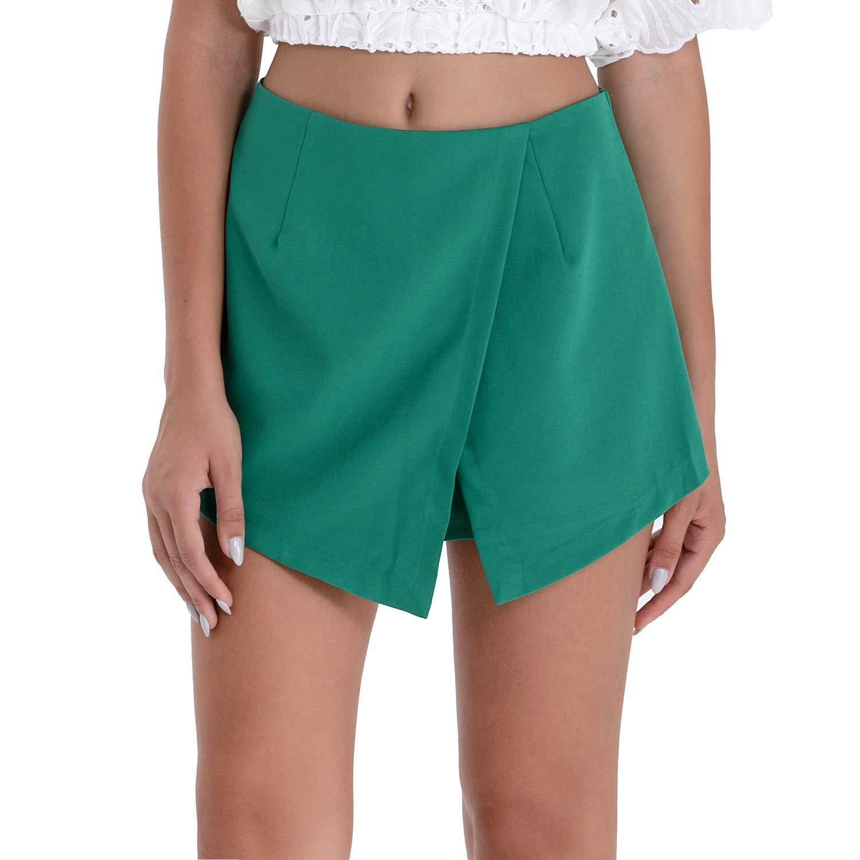 BARGOOS Women's Summer Casual Asymmetrical Zipper Shorts Skorts