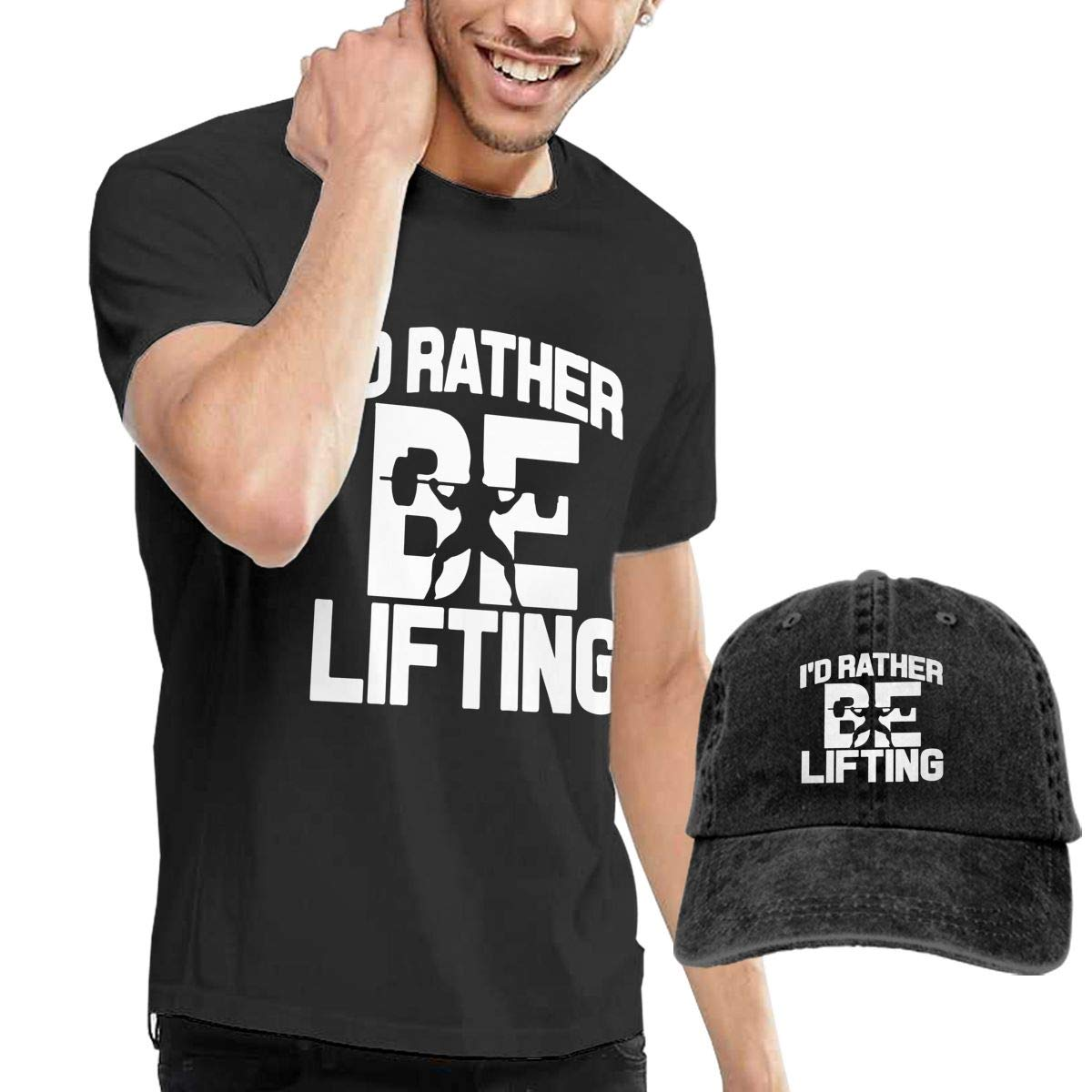 WWTBBJ-B Id Rather Be Lifting Weight Adult Mens Fashion T Shirts and Fishing Jean Cap