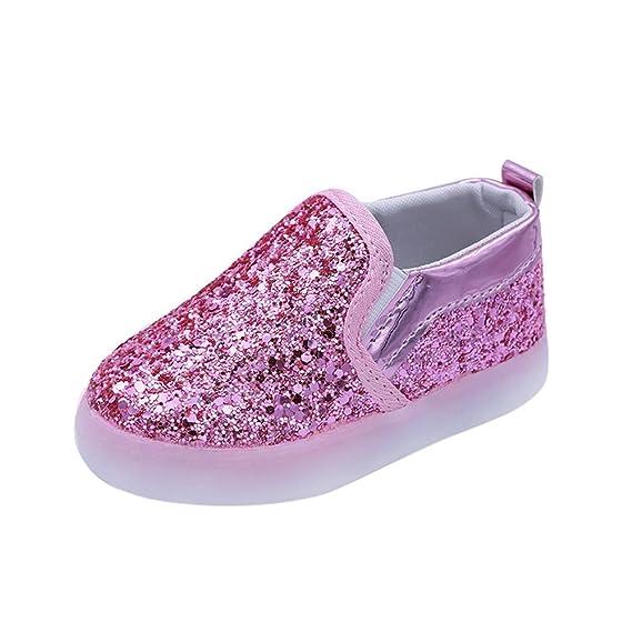 Zapatillas para Bebés Calzado Niños Lentejuela de imitación Luminoso LED Suave Terciopelo Botas Zapatilla de Deporte Zapatos Sneakers con Luces ZARLLE: ...
