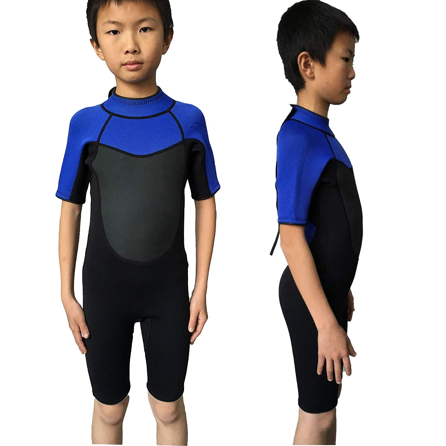 Realon Wetsuit Kids Shortie 3mm Boys Wetsuit Shorty Swim Suit Children Snorkeling Suits Surf Suit Jumpsuit (Black/Blue, S)