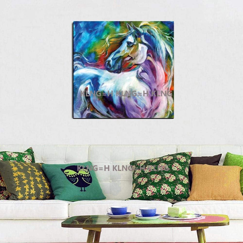 mmzki Pintura al óleo Samurai Pintada Hermoso Caballo Azul sobre Lienzo Cuadros Abstractos Modernos Pinturas al óleo Animales para decoración del hogar Arte de la pared-60x60CM_KingH1
