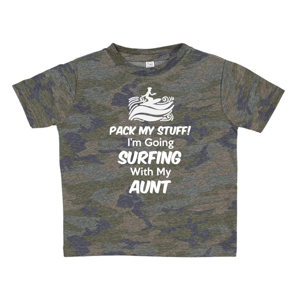 Pack My Stuff Im Going Surfing with My Aunt Toddler//Kids Short Sleeve T-Shirt