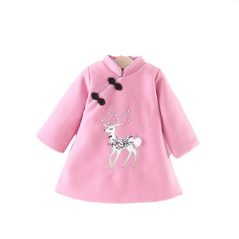Yao Winter Cheongsam Baby Red New Year Tang Suit New Year Jacket Coat Spring Festival (1-2Years, Pink)