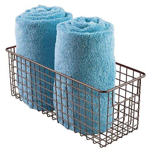 mDesign Bathroom Wire Storage Basket to Hold Bath Towels, Shampoo, Health and Beauty Supplies - Deep, Bronze