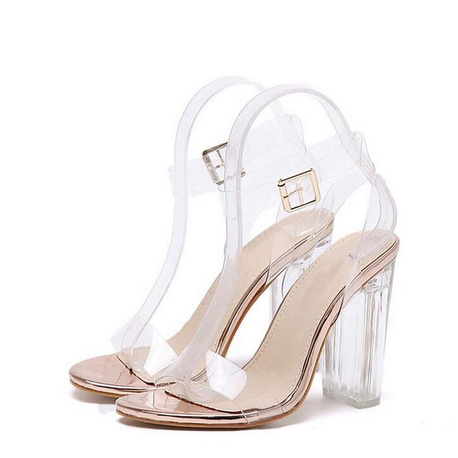 The small cat 2019 PVC Jelly Sandals Crystal Leopard Open Toed High Heels Women Transparent Heel Sandals