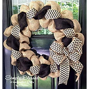 Black and Natural Chevron Burlap Wreath 22 inch for front door or accent - outdoor or indoor 55