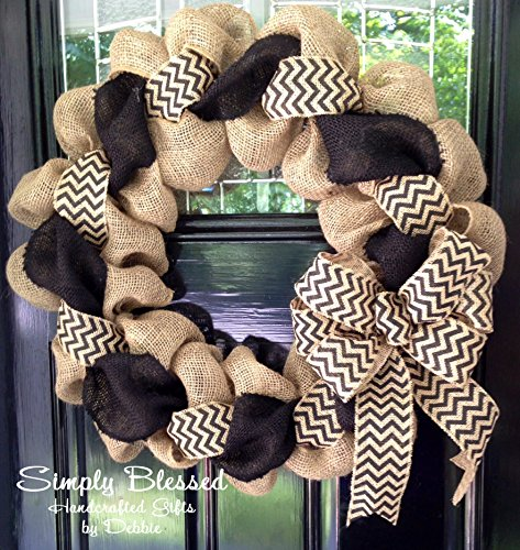 Black and Natural Chevron Burlap Wreath 22 inch for front...