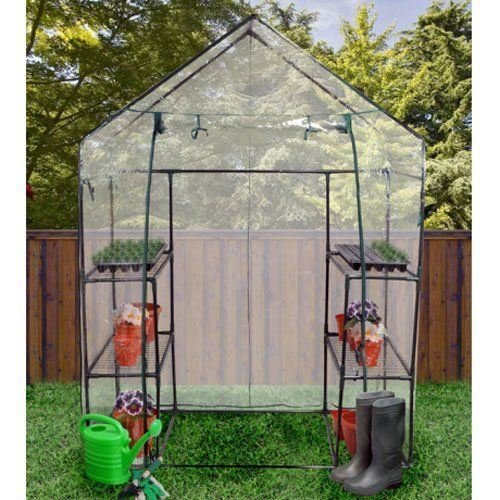 Unibos Compact Walk-in 3 Tier 6 Shelves Greenhouse with Removable Cover Grow your own