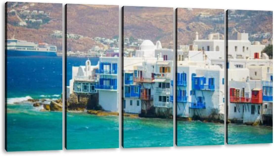 KiiAmy 5 Panels Art Wall Decor Amazing View of Little Venice The Most Popular Attraction in Mykonos Artwork Modern Canvas Prints Office Bedroom Home Decor Framed Painting Ready to Hang (60''Wx32''H)