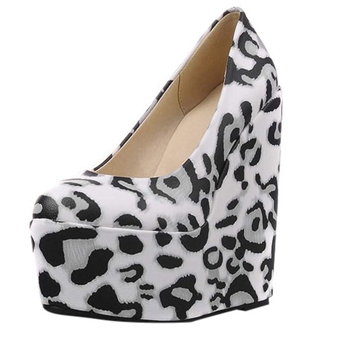 18654f8140b Mujer Alto Tacón De Cuña Tobillo Plataforma Negro Partido Zapatos Botas  ZARLLE Mujer Plataforma Cuñas Leopardo Suede de Salón con Hebilla:  Amazon.es: Ropa y ...
