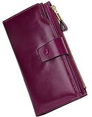 Carteras Mujer Piel Monederos de Mujer Fashion Gran Capacidad RFID Bloqueador Billeteras Mujer para Tarjetas con