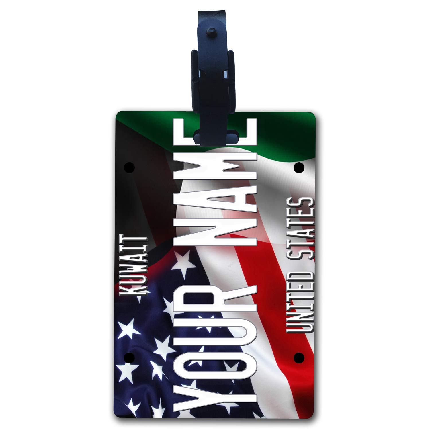 BleuReign Personalized Custom Name Mixed USA and Kuwait Flag Luggage Tag