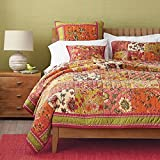 Dada Bedding Collection Reversible Real Patchwork Cotton Bed of Roses Floral Print Quilt Bedspread Set, Orange & Pink, Queen, 3-Pieces