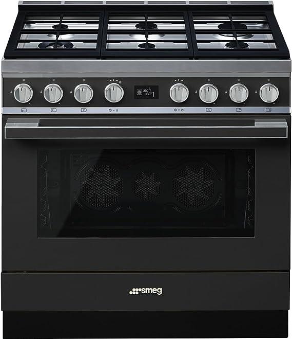 Smeg CPF9GMAN - Cocina (Cocina independiente, Antracita, Giratorio, Frente, Electrónico, LCD): Amazon.es: Grandes electrodomésticos