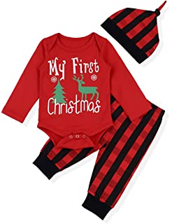 88c052fcfda Baby Christmas Outfit Newborn Boys My First Christmas Deer Tree Print Top +  Long Pants Clothes Sets