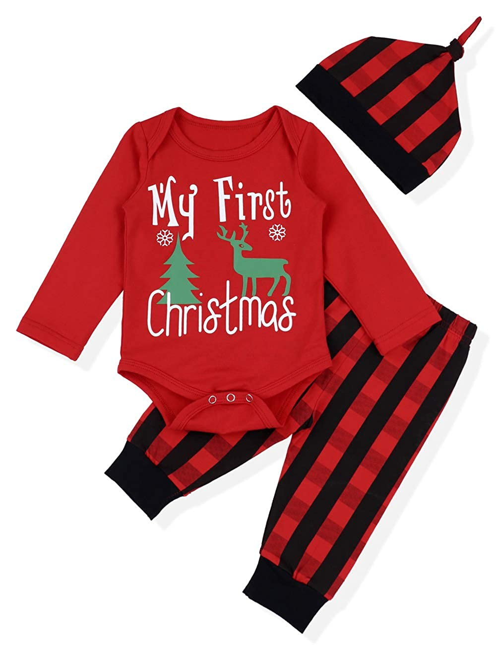 f60ada131d945 Baby Christmas Outfit Newborn Boys My First Christmas Deer&Tree Print Top +  Long Pants Clothes Sets