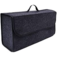 صندوق تخزين رقيق وعميق رمادي اللون يُستخدم كمُنظم وحامل لأدوات حقيبة السيارة أثناء السفر
