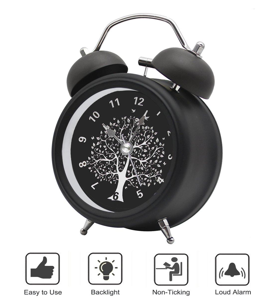 BESTWYA Twin Bell Alarm Clock,Quartz Alarm Clock with Loud Alarm Cute Appearance Backlight Silent Ticking Battery Operated Loud Alarm Clocks for Heavy Sleepers (Black,Wishing Tree)