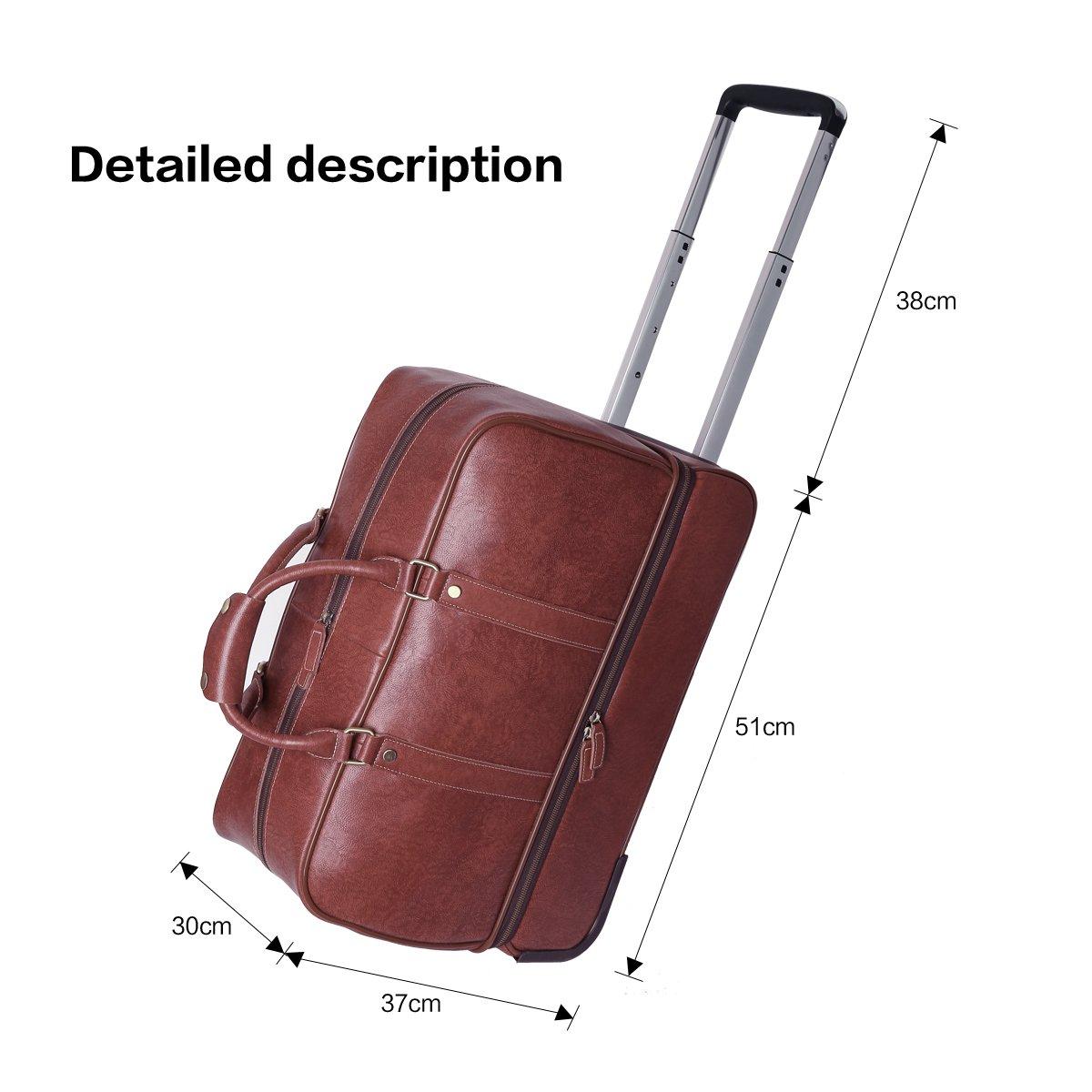 Leathario Leather Luggage travel duffle bag weekend overnight bag (Burgendy) by Leathario (Image #4)