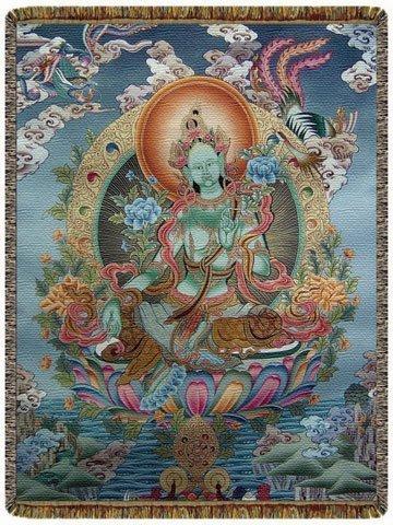 Green Tara Tapestry by Circles of Light Imports