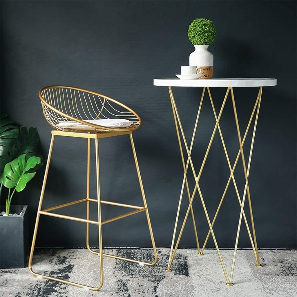 Bar Stool Iron Art High Stool Gold Bar Chair Casual Metal Chair (Color : Gold) Gold