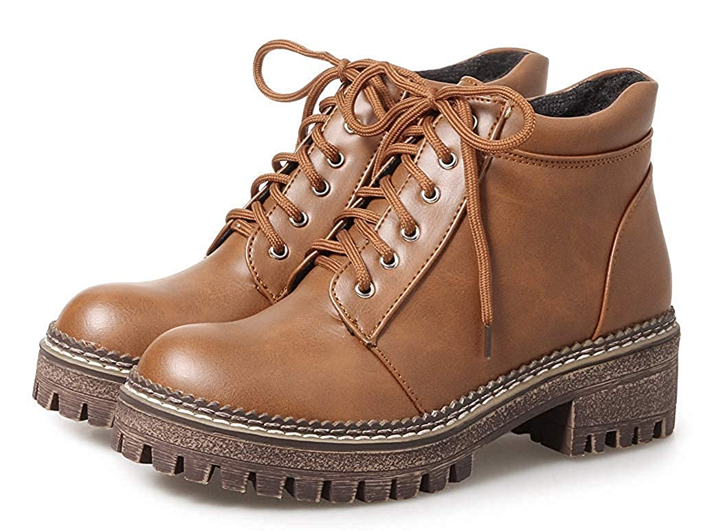 Unm Womens Casual Comfy Round Toe Lace Up Martin Boots Platform Chunky Low Heel Ankle Booties