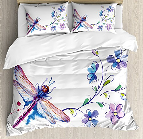 Ambesonne Dragonfly Duvet Cover Set, Watercolor Bug Butterfly Like Moth with Branch Ivy Flowers Lilies Art Theme, A Decorative 3 Piece Bedding Set with Pillow Shams, Queen/Full, Green Purple and Blue ()