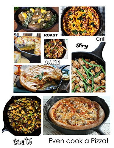 -[ Versatile Heavy-Duty Large 12 inch / 30cm Cast Iron Round Skillet Frying Pan by Euphoric Cookwar
