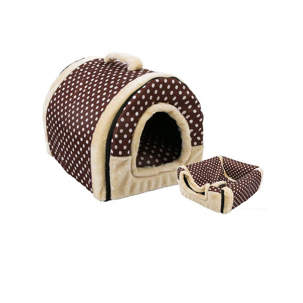 Brown Pet Dog Cat Bed House Warm Soft Kennel Removable Pet House (Black)