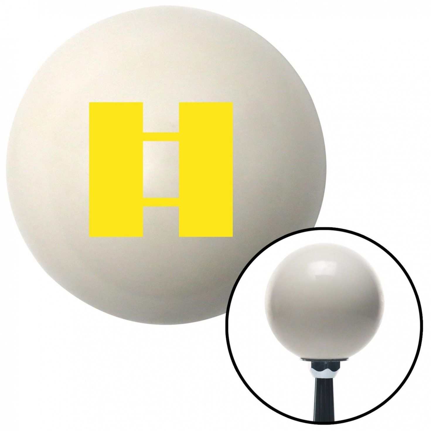 Yellow Captain American Shifter 40523 Ivory Shift Knob with 16mm x 1.5 Insert