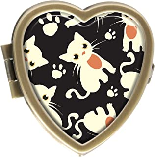 GDEE bianco cute Cat Custom Fashion bronzo a forma di cuore Pill box Holder gestione di scatola decorativa o in