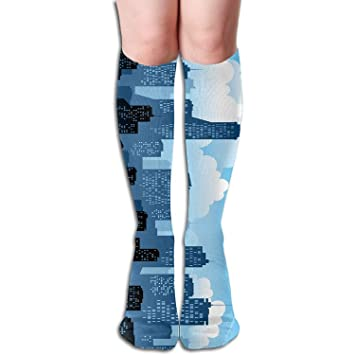 4119650360e Image Unavailable. Image not available for. Color  Unisex Urban White Cloud  Silhouette Sports Long Novelty Socks Knee High Outdoor Sock