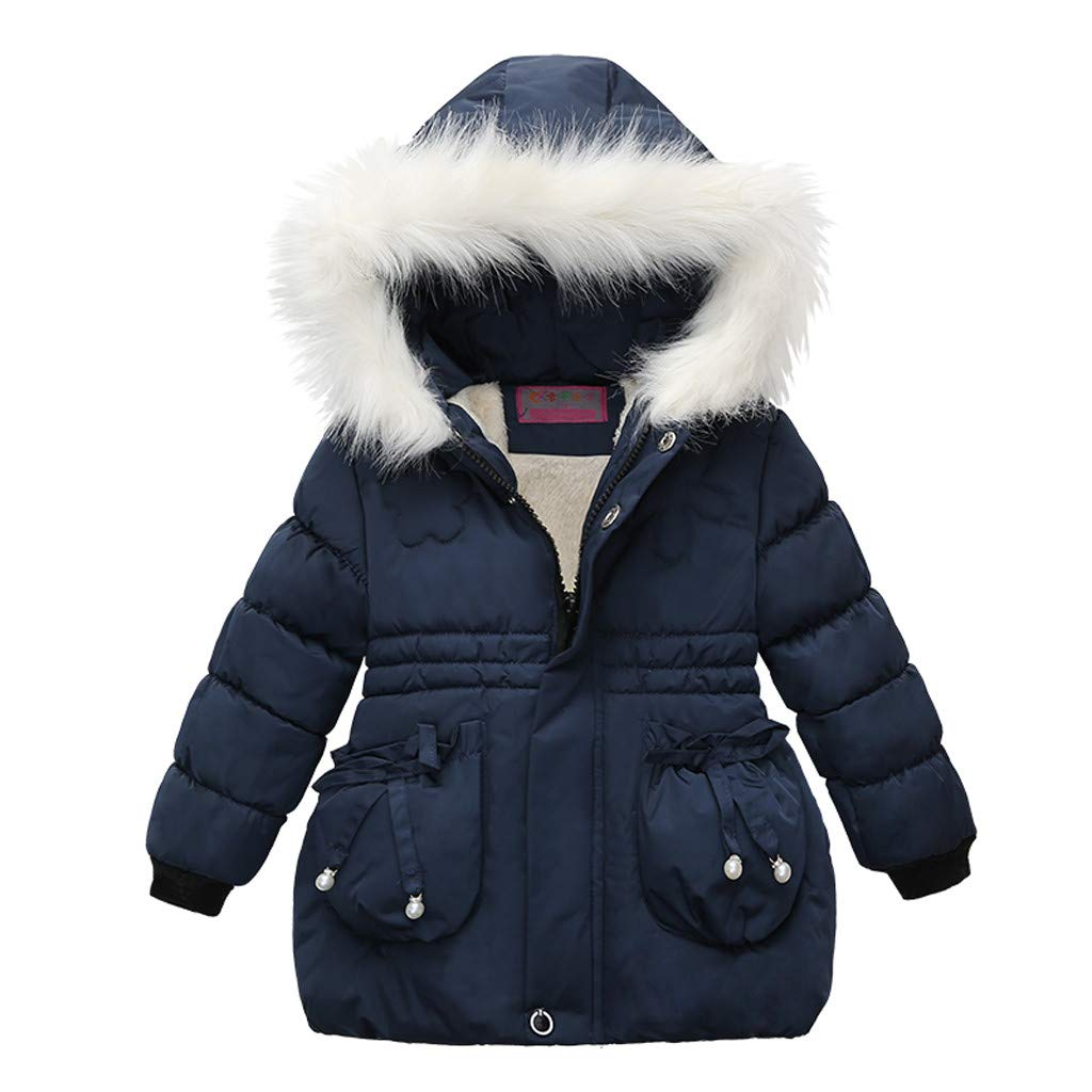 Toddler Baby Girls Winter Thick Warm Zipper Hooded Cotton Down Coat Thick Jacket Outwear (Recommended Age:2-3 Years, Blue) by sweetnice baby clothing