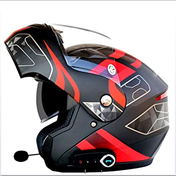 NBZH Casco Inteligente De Motocicleta Bluetooth, Contestador Automático, Casco De Lente Doble Multifuncional Antiniebla