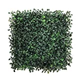 BESAMENATURE 6pcs 1x1ft Artificial Plants Wall Boxwood Hedge Mat, UV Protection High Density Greenery Panels, Dark Green For Sale