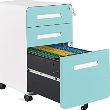 Amazon Com Autsca 3 Drawer Mobile Filing Cabinet Office Drawers Vertical File Cabinet With Lock Legal Letter A4 Files Fully Assembled Except Wheels Blue Office Products