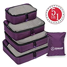 5 Set Packing Cubes for Travel Carry On Luggage Organizer Bags Cubes - with Laundry Bag (Purple)