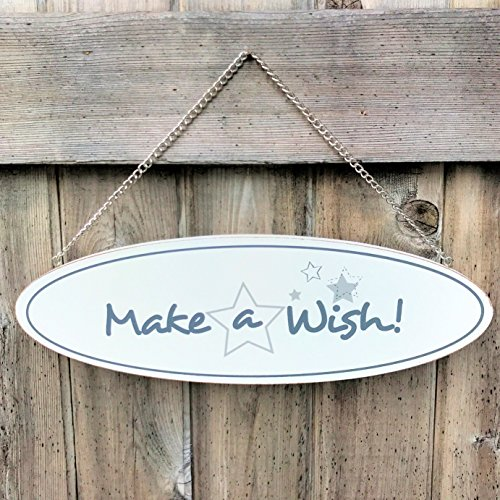 The MAKE A WISH Sign with Gray Stars, Wall or Door Hanger, Word Art, 13? Silver Tone Crafted of Wood, Hanging Metal Chain, Approx. 1 Ft Wide, Rustic White and Gray, By Whole House Worlds (Hanging Plaque Wood Oval)
