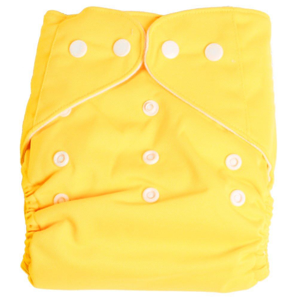 TOOGOO(R) Reglable reutilisable lavable Taille unique Bebe Couches Lavables Couches 1 Couche+ 2 Inserts Jaune SHOMAGT25799