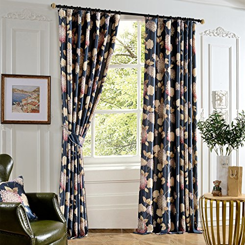 Anady Top Flower Curtains Navy Blue Drapes 2 Panel Bright Flower Decro Curtains Livingroom Grommet Drapes 72 inch Wide(Customized Available) Review